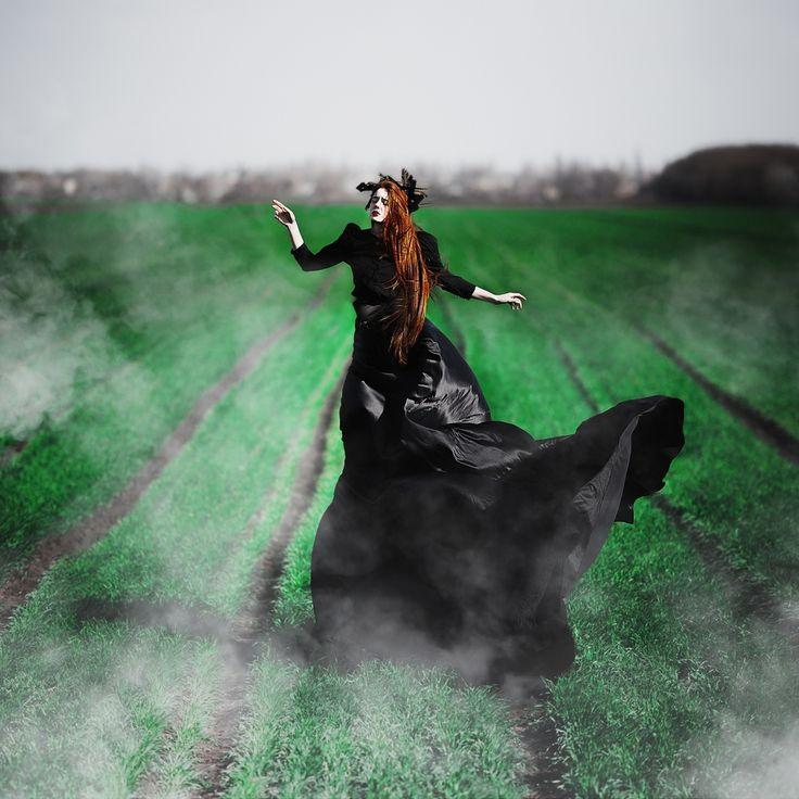 Art & Creative Art & Creative okeyteam kate troyan photo girl portrait woman red hair gothic black dress wind green field