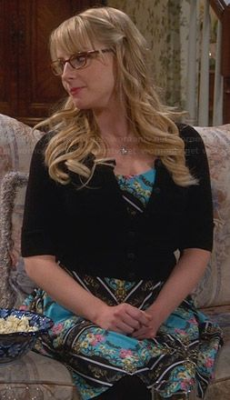 Bernadette's blue floral scarf printed dress on The Big Bang Theory.  Outfit Details: http://wornontv.net/32233/ #TheBigBangTheory