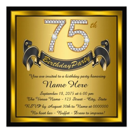 17 Best ideas about 75th Birthday Invitations on Pinterest | 80th ...