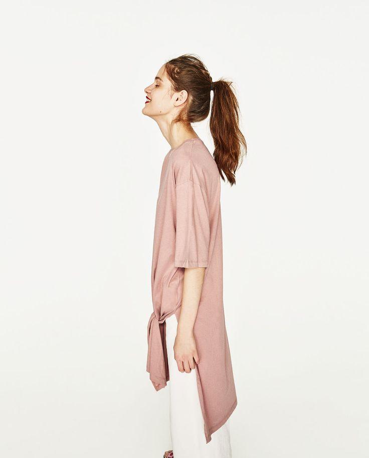 結び目付きビッグシルエットTシャツ-すべてを見る-Tシャツ-レディース   ZARA 日本