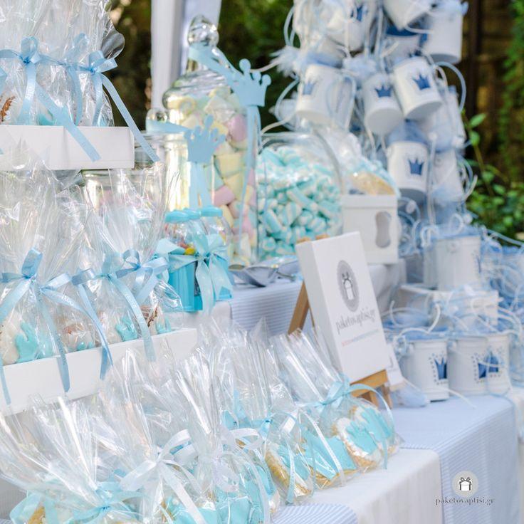 Στολισμός Βάπτισης της Εκκλησίας για αγοράκι σε αποχρώσεις σιέλ και μπλε με θέμα την Κορώνα