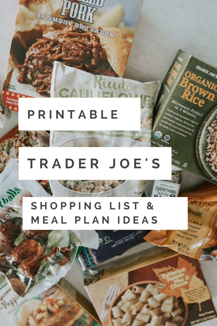 Motherhood blogger, Lynzy & Co. puts together Trader Joe's meal plans & a printable shopping checklist