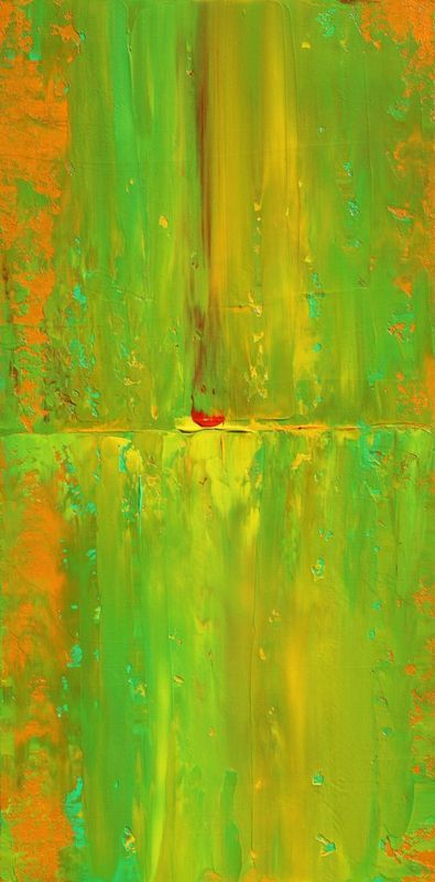 """""""Abstract Concept Bright II"""" by Robert Lynn. Acrylic painting on Canvas, Subject: Abstract and non-figurative, Abstract style, One of a kind artwork, Signed on the back, This artwork is sold unframed, Size: 30.48 x 60.96 x 3.81 cm (unframed), 12 x 24 x 1.5 in (unframed), Materials: Professional Acrylic paints, palette knives on a Gallery Wrapped Canvas. Golden Archival Professional Gloss Varnish."""