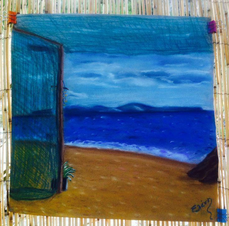 "Pastel painting  Greece ""..θάλασσα μνήμη μαύρο μου ασήμι πάρ' την καρδιά μου και κάν' την νησί του ανέμου αγρίμι.."" Mine.."