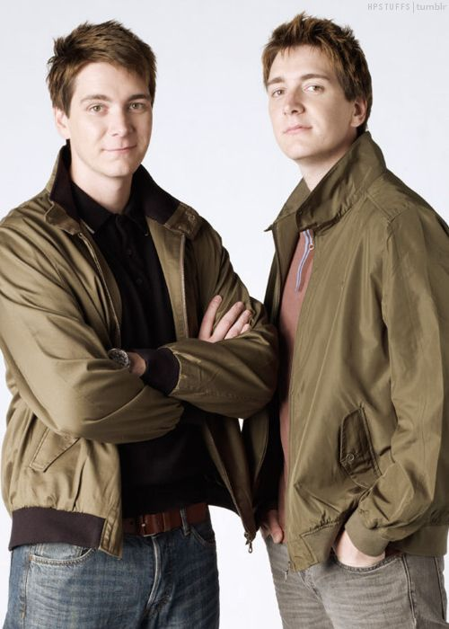 James & Oliver Phelps - Yes, James is the one on the left and Oliver is on the right. I absolutely fell in love with them during the fourth Harry Potter (Goblet of Fire) movie. SPOILER ALERT!!!: I was devastated when Fred died! It's the only time I've ever cried while reading a book. James and Oliver will always be Fred and George to me. <3