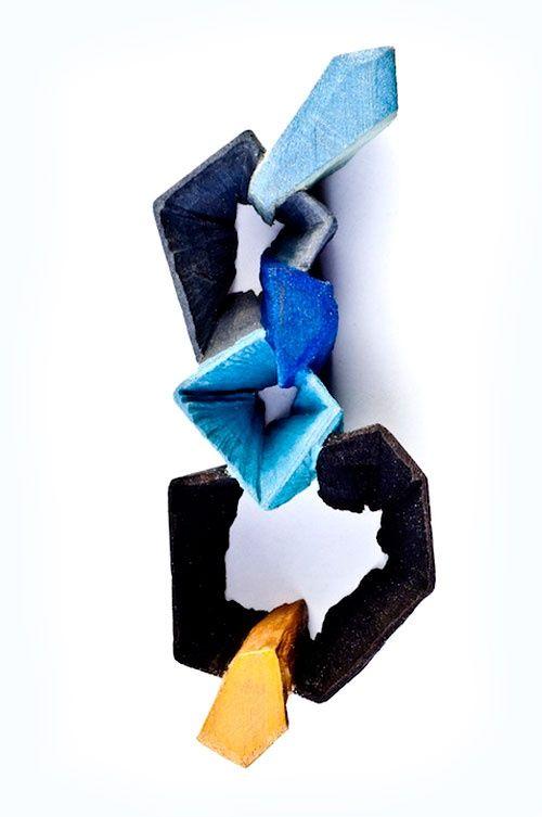 Flora Vagi  Brooch: Stones Happen In A Garden 2012  Cedar wood, pigment, acrylic paint, silver, steel