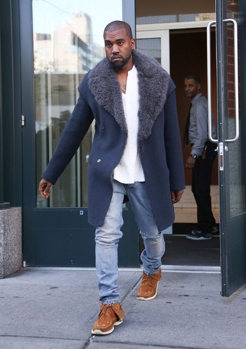 Kanye in Burberry, Ralph Lauren, APC, Visvim