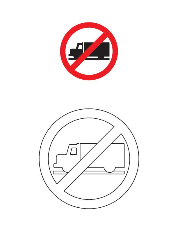 Truck prohibited traffic sign coloring page