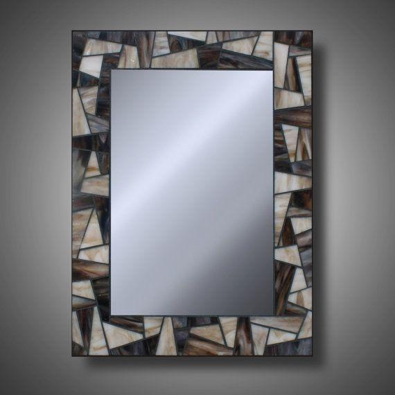 Vitrail mosaïque miroir 15 « x 20 » Brown sables - Modern Home Decor - grands miroirs décoratifs - Kokomo verre - One of a Kind Plus