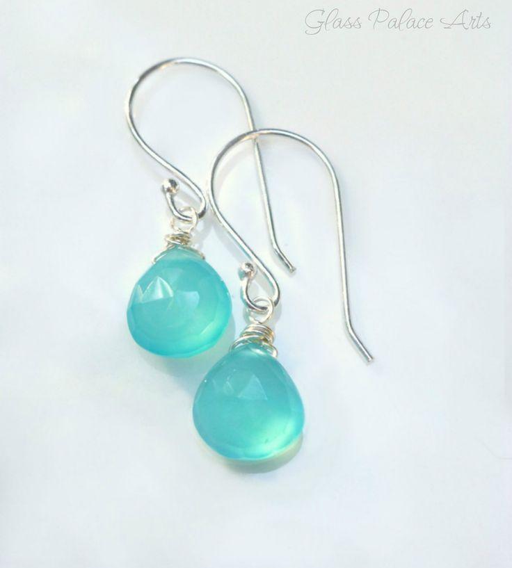 Aqua Chalcedony Teardrop Earrings - Gemstone Teardrop Earrings