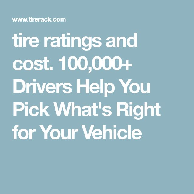 tire ratings and cost. 100,000+ Drivers Help You Pick What's Right for Your Vehicle