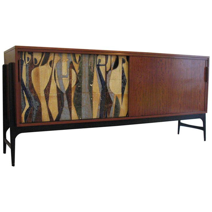 Cabinet by Alfred Hendrickx (Belform). This is one off the oldest cabinet with a ceramic tile. The tile remind on a painting from Floris Jespers. Belgium 1956.