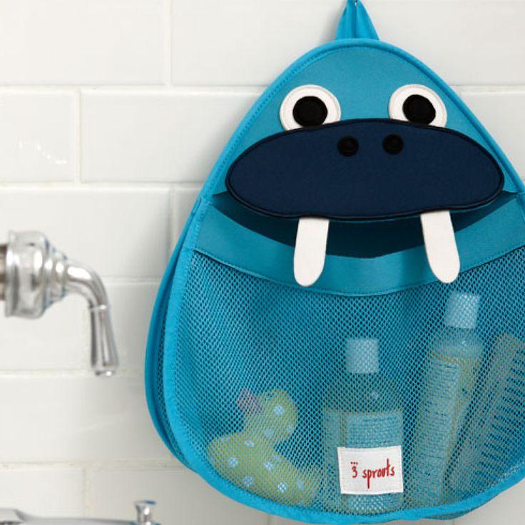 Badeværelses-opbevaring fra 3 Sprouts. Denne holder til badeværelset kan holde styr på badelegetøj og andre små ting. Fastgøres let på fliser og glas med en skridsikker sugekop.