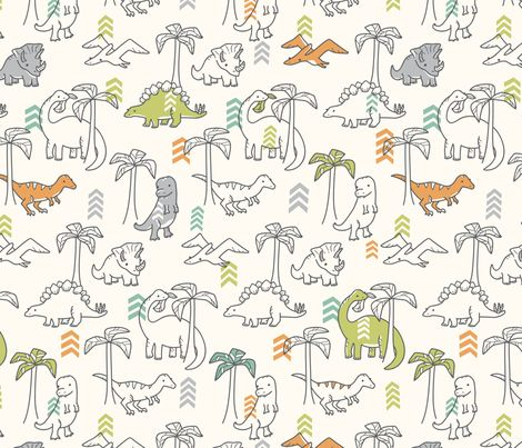 I want sheets in this material! - Jurassic Jungle fabric by auki on Spoonflower - custom fabric