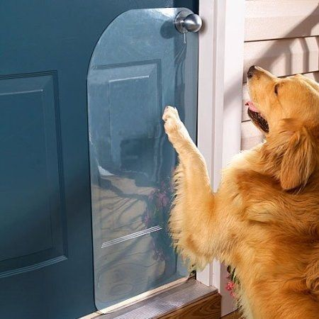 Si su perro rasca la puerta para salir, usar un protector de puerta para minimizar daños.   25 Trucos que te harán la vida más fácil si tienes un perro