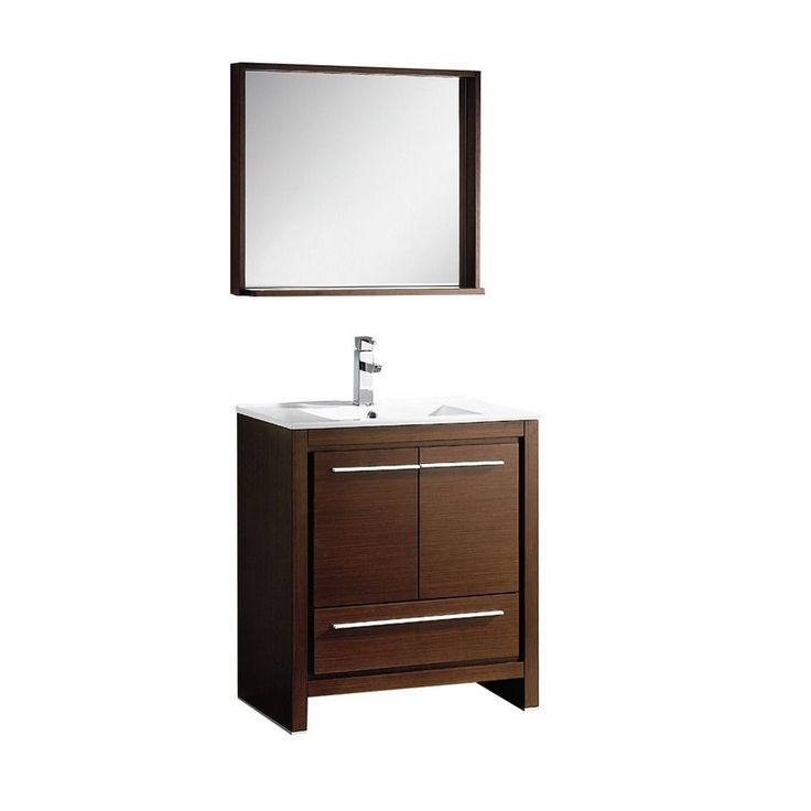 The Fresca 30-inch Allier is a sleek, modern free standing vanity with plenty of storage space. This set is accented nicely with a matching mirror with small shelf with a perfect balance of hues and textures.