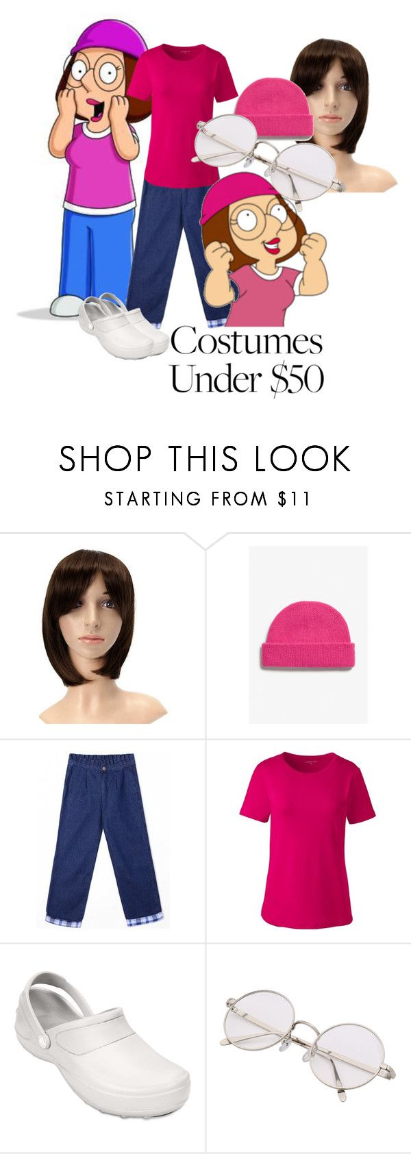 """""""Meg Griffin, Family Guy"""" by maria-kuroshchepova ❤ liked on Polyvore featuring Monki, Lands' End, Crocs and halloweencostume"""