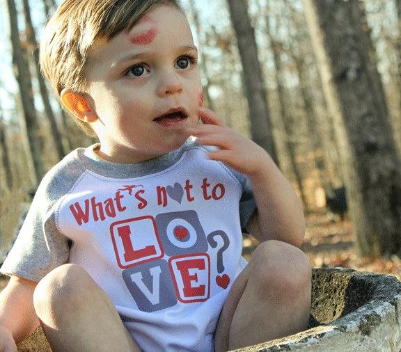 Funny Valentine Onesie Baby Boy Onsies Gray Raglan Sleeve 6M to 24M Infant Bodysuits to Kids Tees. $15.95, via Etsy.