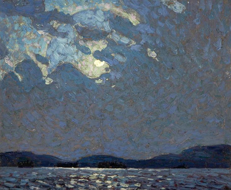 Tom Thomson (Canadian, 1877-1917): Moonlight Over Canoe Lake, Spring, 1916. Oil on wood panel.