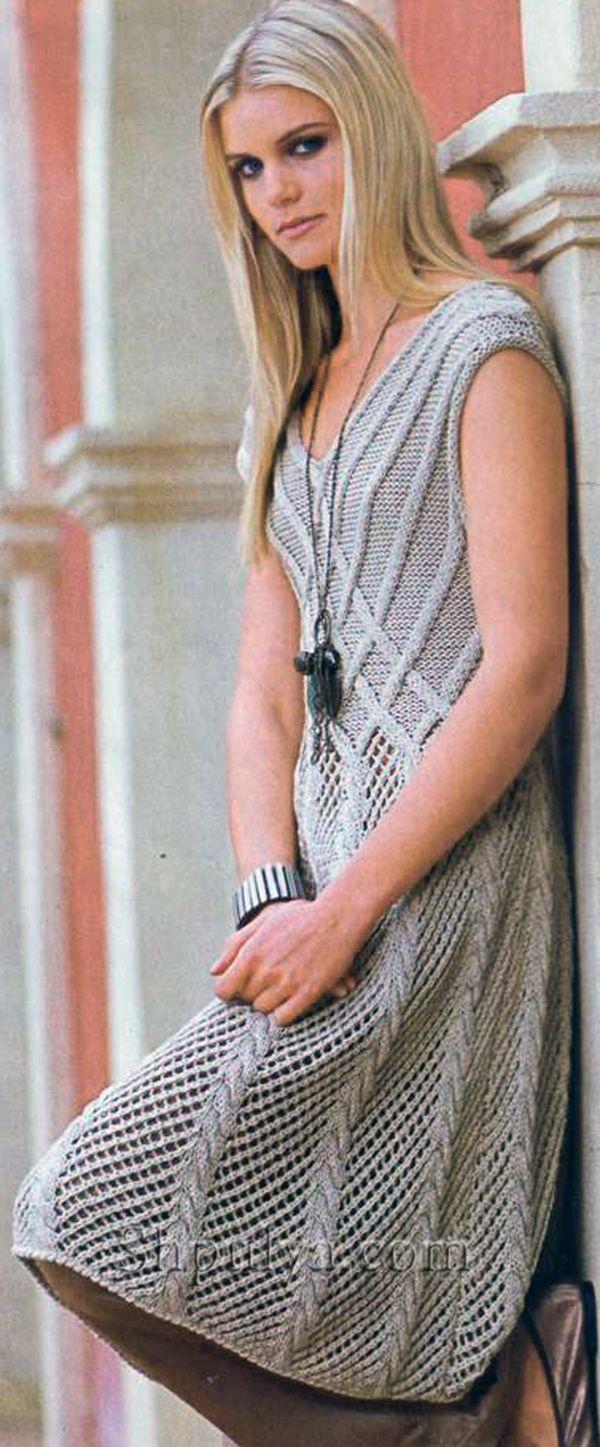 Ажурное бежевое платье, вязаное спицами