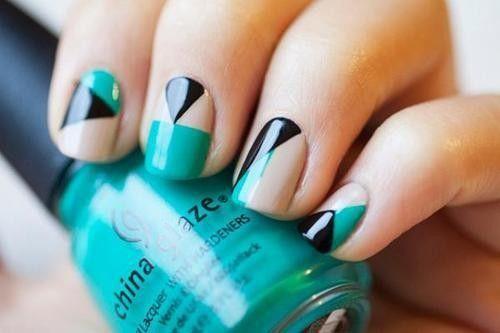 Colors Combos, Nails Art Ideas, Nailart, Nails Design, Geometric Nails, Nails Ideas, Geometric Design, Black, Nail Art