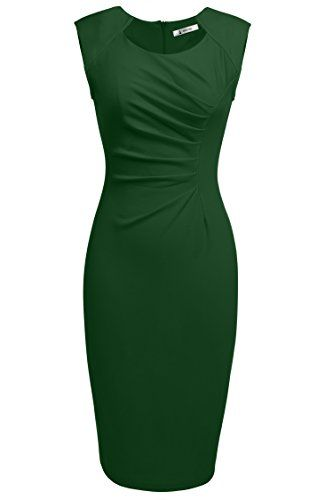 []  ANGVNS Womens Classy Neck Detail Sleeveless Zip-up Midi Dress(M,Dark Green) []---