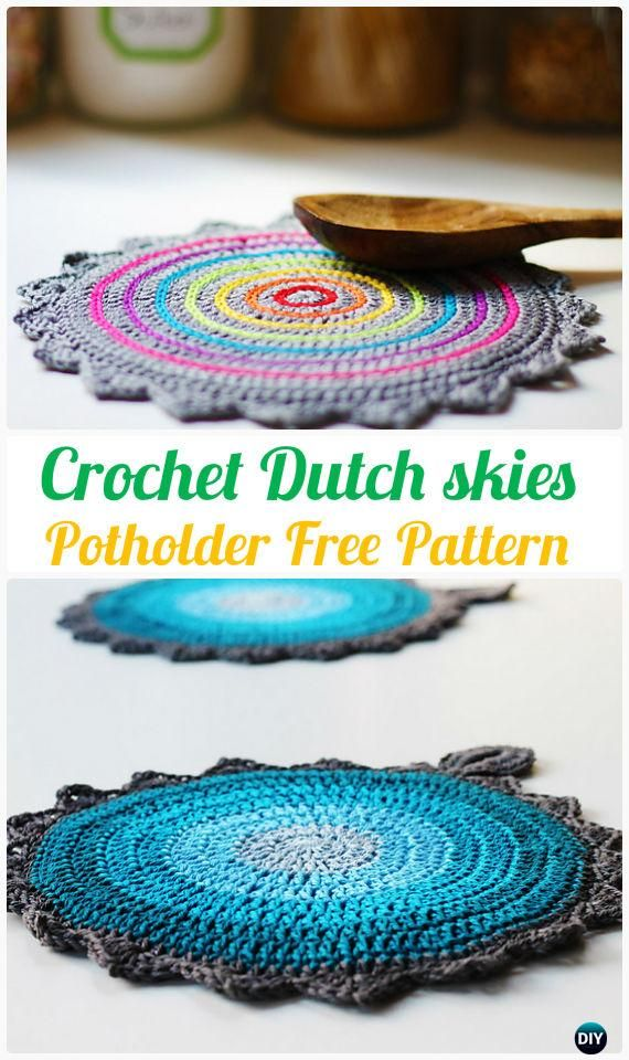 Hekle nederlandske himmel gryteklut Free Mønster - Heklet Pot Holder Hotpad Free Patterns