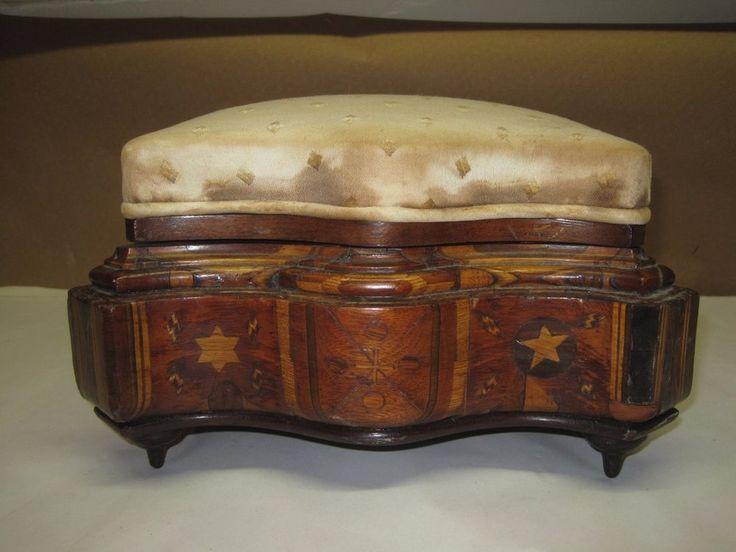 Antique Victorian Inlaid Sewing Box Pin Cushion Top | eBay