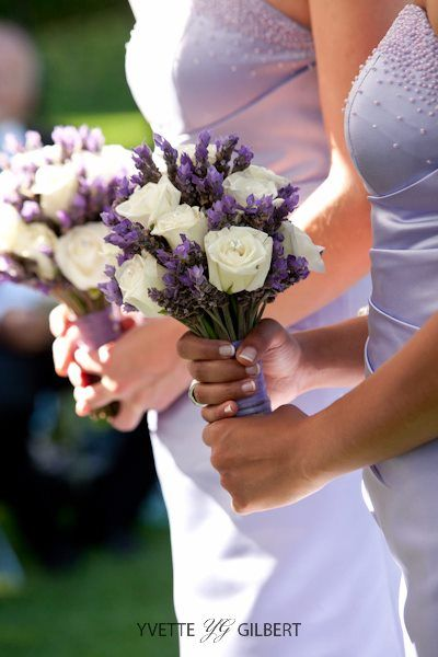 Bridesmaid bouquets of lavender and white roses. One of the top choices depending on the dresses. CS