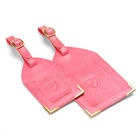 Set of 2 Luggage Tags in Pink Lizard - Aspinal of London