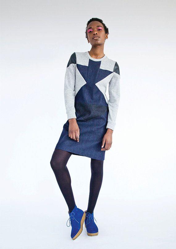 Andile /  shift dress / mid length dress / denim dress /  by RIYKA