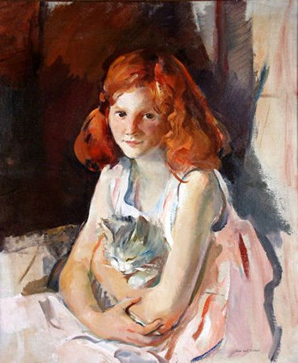 Alice Kent Stoddard (American, 1883 – 1976) - Young girl with cat: