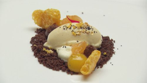 Mandarin and Chocolate with Fig Leaf Ice Cream from @masterchefau  http://masterchefrecipe.net/mandarin-and-chocolate-with-fig-leaf-ice-cream/