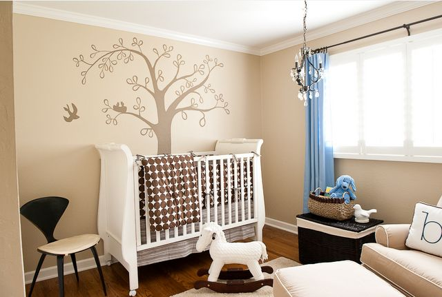 Simplified Bee®: Baby Boy: Bird Theme Nursery Design & Decorating Ideas  Overhead projector to sketch the tree on the wall before painting.