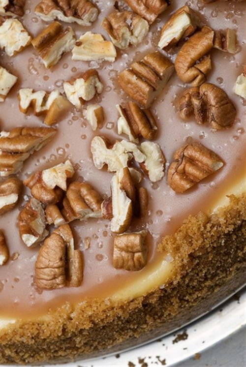 Pecan and Salted Caramel Cheesecake ~ On its own, there is nothing exceptional about the cheesecake. The difference is the caramel. The salt portion is sprinkled on top, so you can use as little or as much as you like. Keep in mind whether or not the pecans are salted when adding the sea salt. Recipe @: http://www.bakeorbreak.com/2009/02/pecan-and-salted-caramel-cheesecake/
