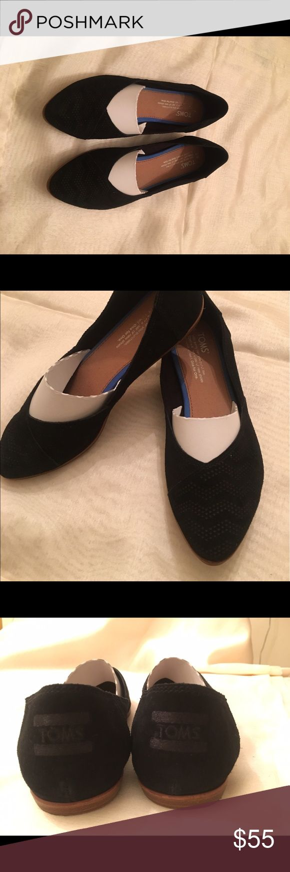 "Black Toms flats Black chevron embossed suede women's ""Jutti"" flats. Original price $84 purchased from Nordstrom only worn a hand full of times. Asking $55 since they are like new. Size 7 TOMS Shoes Flats & Loafers"