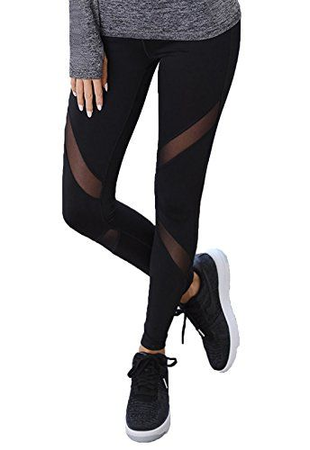 FITTOO Pantalon Yoga Legging de Sport Femme Fitness Collant avec Tulle b1442259de2