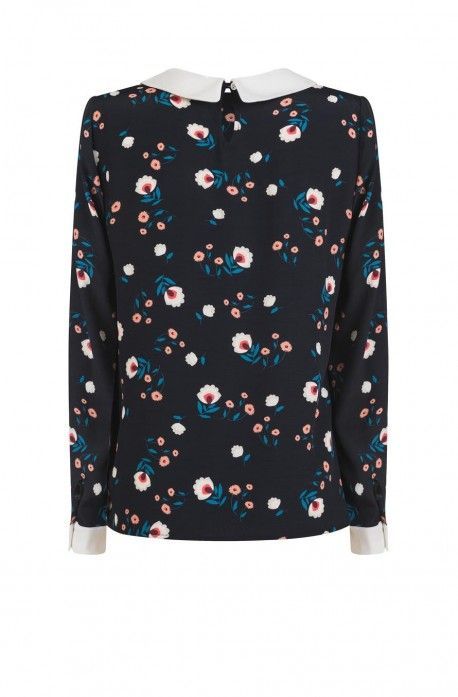 Blouse fleurie col claudine