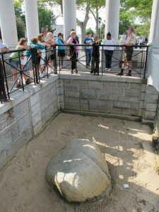 The Shrine at Plymouth Rock.  Probably a reminder of why the Pilgrims came here.  They landed at Plymouth Rock looking for freedom and liberty and justice for some.  Plymouth Harbor, Plymouth, MASSACHUSETTS.