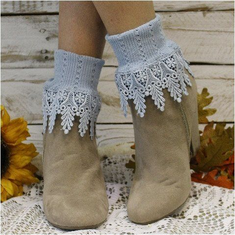 Lace socks in Chambray blue. Our Signature lace sock in chambray, lovely color sock to compliment your wardrobe. Women have been calling these American Made lace cuff socks their signature look since