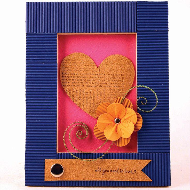 dcwv corrugate heart frame valentine cardmaking acmoore