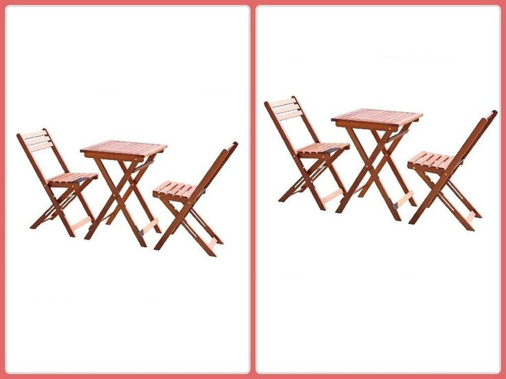 Outdoor Bistro Sets Wood W/ Square Table 2 Chairs Folding Patio Furniture New #patio #patiofurniture