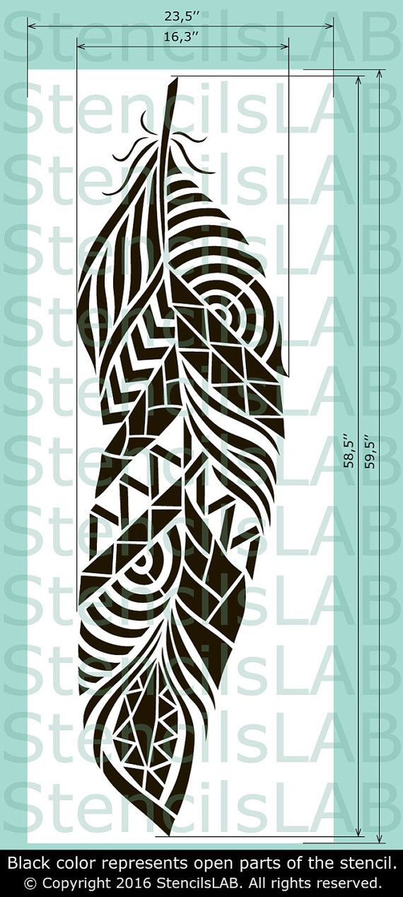 Feather Wall Stencil Reusable feather decorative by StencilsLabNY
