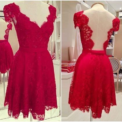 Red Short Homecoming Dress,Short Prom Dress,V neck Prom