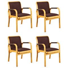 Set of Four Alvar Aalto Armchairs for Artek, circa 1960