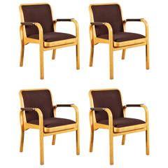Set of Four Alvar Aalto Armchairs for Artek, circa 1960