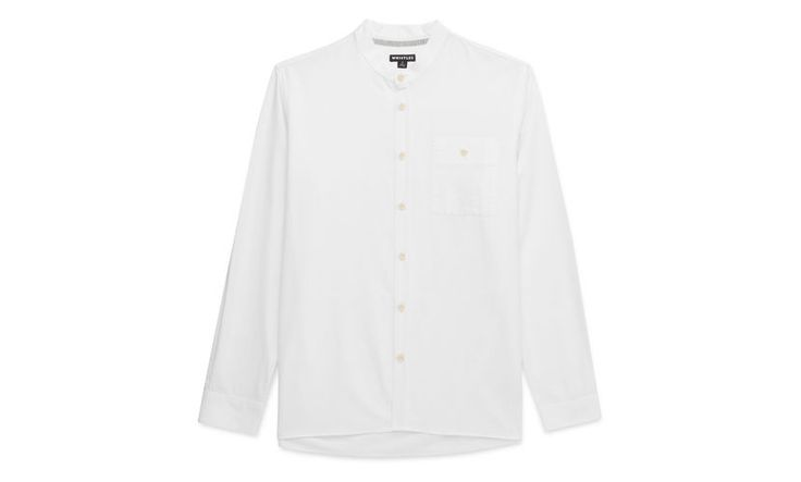 Collarless Oxford Shirt, in White on Whistles