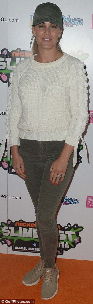 Casual day: Danielle stepped out in a cream jumper and jeans...