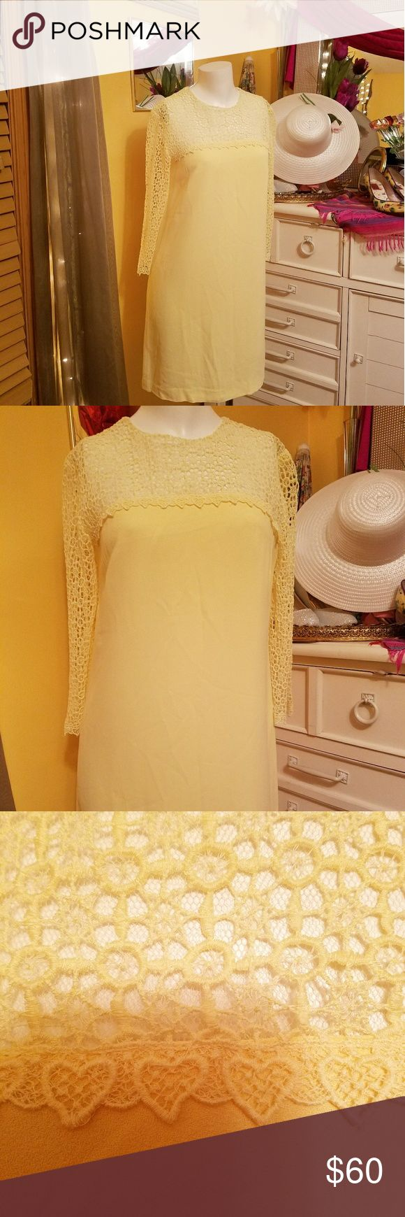 60's! Vintage Yellow Lace Dress As Vintage as you can get! In Great Vintage condition! Very delicate and feminine. Beautiful for the Summer or to go to a Wedding. I believe this is a 1960's Dress. I would have kept but does not fit me. I hope it goes to a good home. This is truly a rare gem in great vintage condition. I believe it fits a size 5/6 best. Sorry I know yellow background not good but I am limited on time. Have lots more to share! Check my closet. Price ranges vary. BUNDLE and…