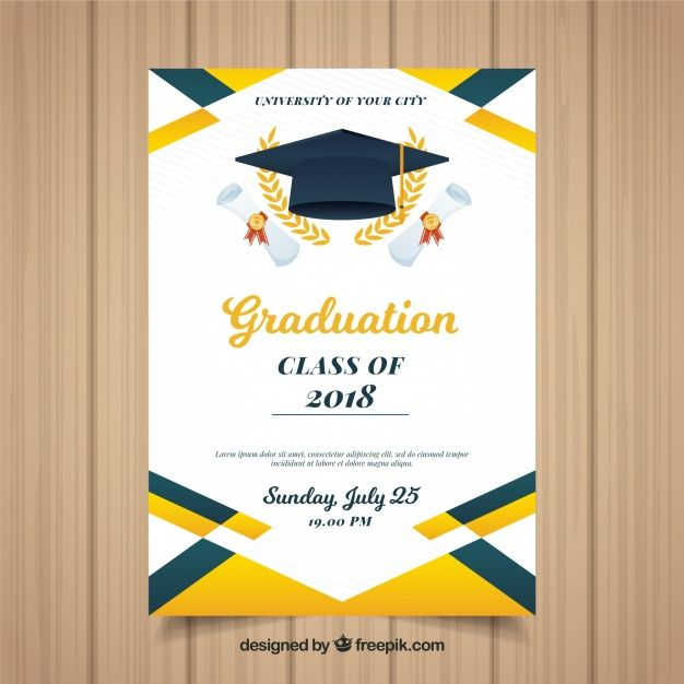 Download Colorful Graduation Invitation Template With Flat Design